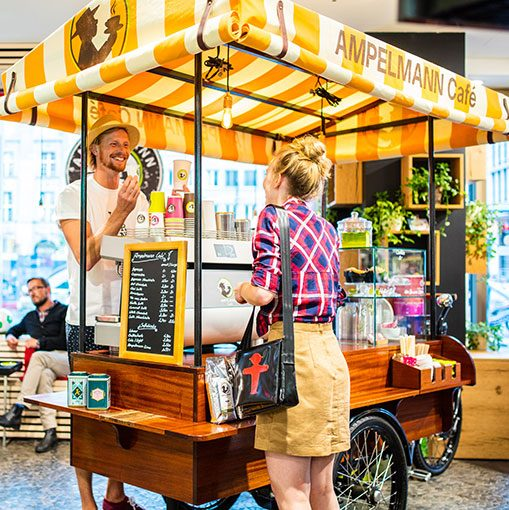 The coffee bike at the shop on Unter den Linden