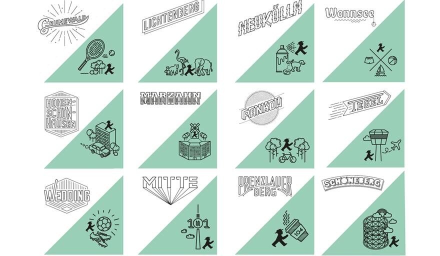 Kiez Shirts von AMPELMANN Berlin mit Design Schriftzug auf der Vorderseite und Logo auf der Rückseite