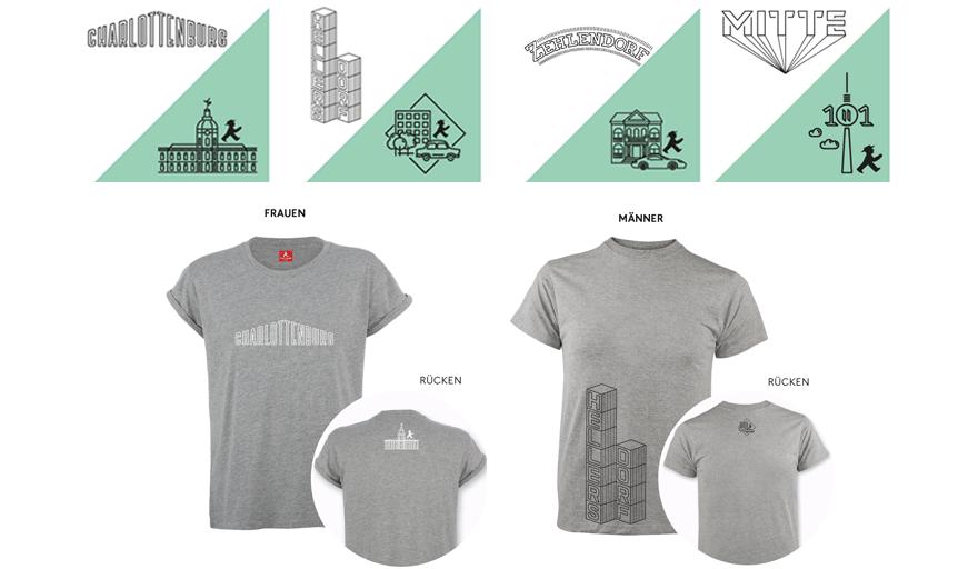 Kiez Shirts von AMPELMANN Berlin. Für Damen und Herren, mit Kiez Schriftzug auf der Vorderseite und Emblem auf der Rückseite