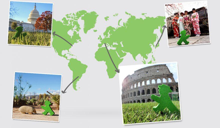 Ampelmann aus Berlin reist um die Welt - zum Beispiel nach Amerika, Japan, Italien und Argentienien