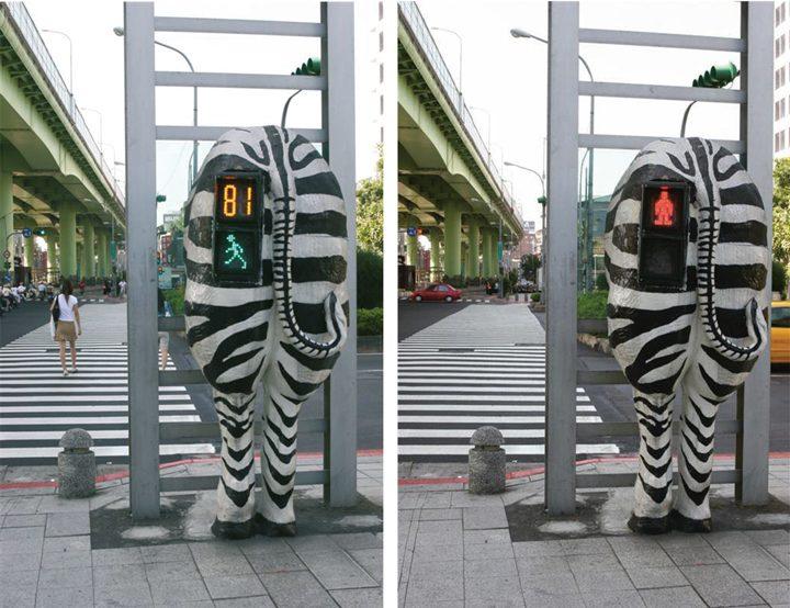 Zebra Ampel in Taipeh